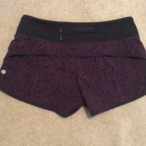 Lululemon Cherry Crush Speed Shorts, 6